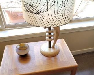 Danish Modern Table and Modern Lamp