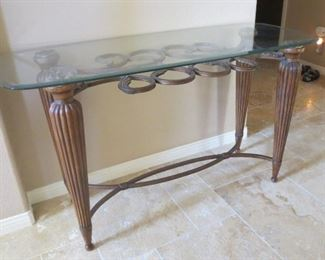 Iron and glass high table - $35