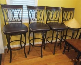 "4 black swivel bar stools 29"" high"