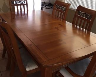 Table seats six and is in good condition matching hutch available.