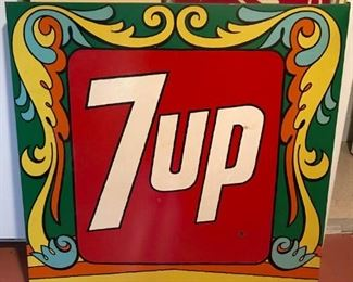 !970s 7up sign in Peter Max style