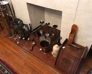 Fireplace accessories: Antique Coal Scuttle, Antique Foot Warmer, Antique Andirons, Antique Brass Fireplace Set, Antique Bellows, and more...