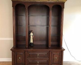 2 pc Lighted cherry china cabinet with glass shelves