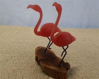 John Perry signed 1986 pair of flamingos on balsa wood