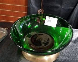 Green transparent bowl with brass bass