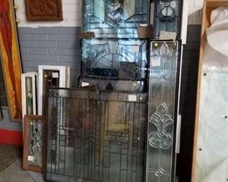 Assorted new & used double pane Low E door & window stain glass panels 30% off