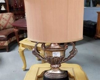 Trophy shaped table lamp with shade