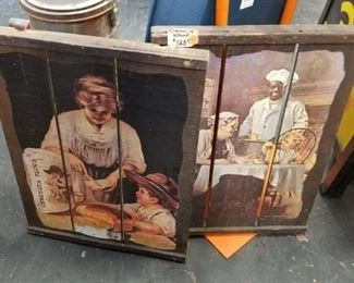 2 Assorted advertising signs on wood Cream of Wheat etc