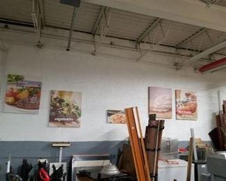 Assorted canvas food & people art