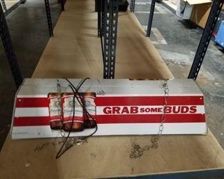 Vintage Grab a Bud budweiser pool table light WORKS