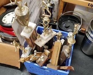 Assorted vintage trophies Bowling, Baseball, Racing etc