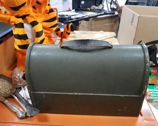 Rare Wood lunch box shaped tool box opens from the bottom