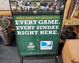 Rare Sports 2 sided football NFL Direct TV double sided man cave collectible sign\