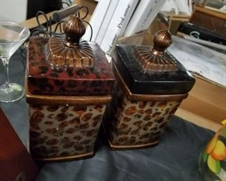 (2) matching animal print ceramic canisters
