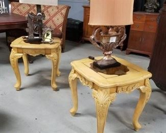 (2) Ornate French Provincial style end tables