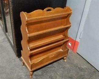 Multi level solid wood magazine rack