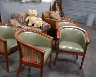 (4) MCM Harvey Probber solid wood framed barrel chairs