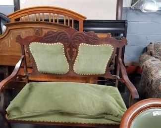 Antique solid wood settee Needs new upholstery & some repair