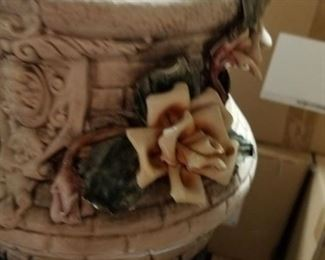 """20"""" Rare Capodimonte wishing well with pail"""