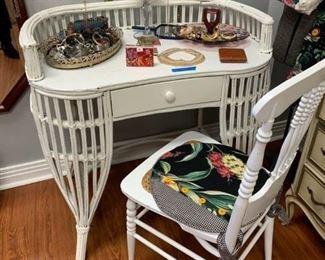Cute wicker desk with chair & cushion