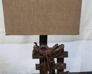 Western saddle style table lamp with shade