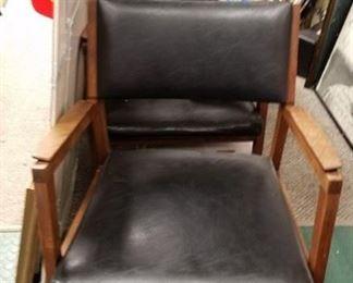 (2) Alma Desk black vinyl seat & back teak solid wood frame