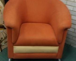 MCM orange & cream barrel chair with chrome legs