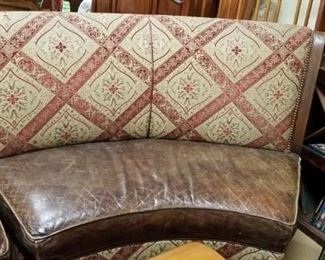 (2) Custom Walter E Smithe used distressed leather seat fabric back curved benches Original price $5000 new