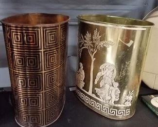 (2) vintage metal waste cans
