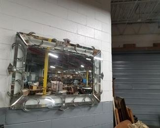 6 foot silver accent shadow box style MCM mirror