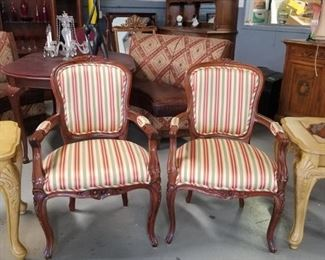 2 Gorgeous ornate carved solid wood striped fabric chairs