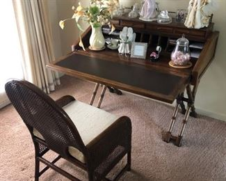 faux bamboo pull down desk and chair