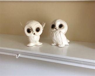 vintage 1950's porcelain owls