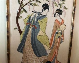 vintage hand embroidered asian art