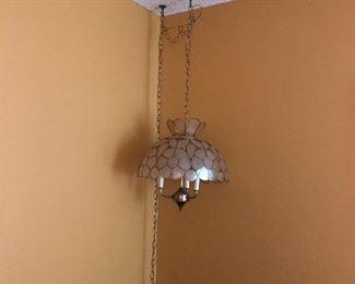 Vintage Capiz shell hanging lamp