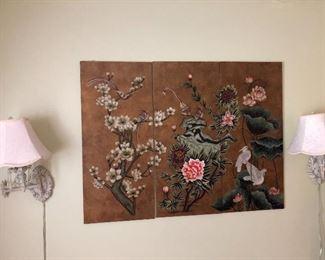 3 panel asian art panels and hanging wall lamps