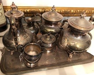 Silverplate Serving set with Tray