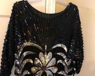 Vintage Sequined Blouse and Skirt
