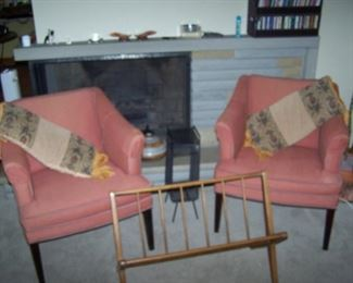 PAIR OF ARMCHAIRS & WALNUT RACK