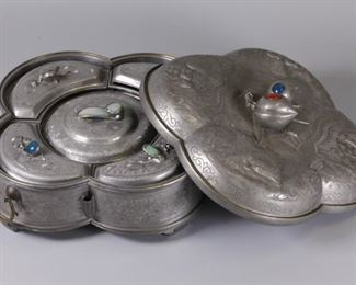 Chinese pewter fruit box w/ cover, possibly 19th c.