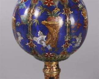 Chinese cloisonne vessel w/ cover, possibly 19th c.