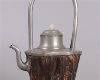 Chinese wood & pewter teapot, possibly 19th c.