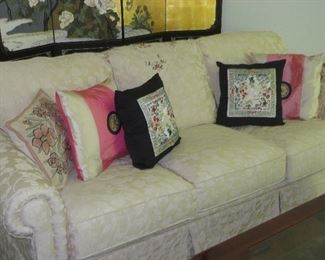 Traditional Three Cushion Sofa Tone on Tone White Custom Fabric Plunkett Furniture