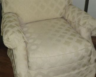 Traditional Club Chair Tone on Tone White Custom Fabric Plunkett Furniture