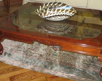 Glass Top Coffee Table Plunkett Furniture NOTE:  art glass bowl & Rug not for sale