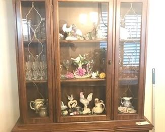 Walnut display cabinet, Crystal glasses, fine china, bone china, Copa D' Monte Floral