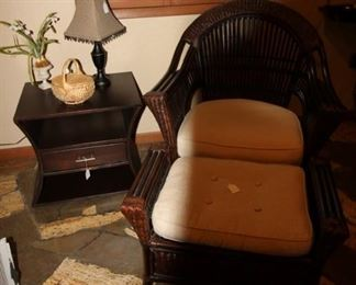 Bamboo and wicker chair with ottoman