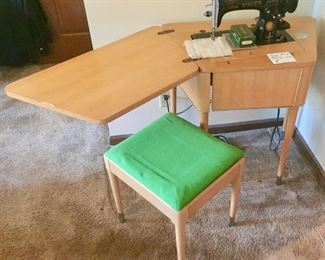 Sewing Machine, Desk and Chair