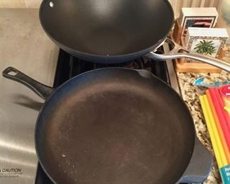 Cast Iron Skillet and Calphalon Skillet