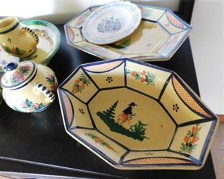 Quimper ware serving pieces
